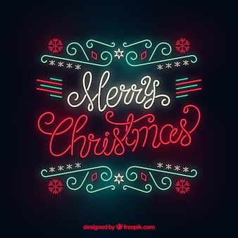 Christmas background in neon