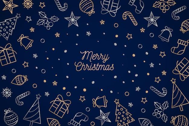 アウトラインスタイルのクリスマス背景