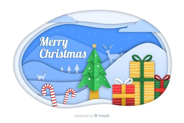 Новогодний фон в бумажном стиле с подарками