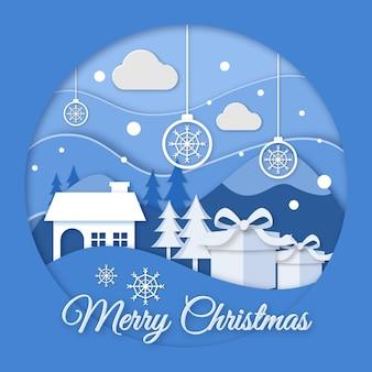 Новогодний фон в бумажном стиле с домом и подарками
