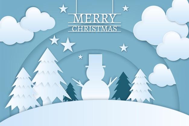 Новогодний фон в бумажном стиле со снеговиком и соснами