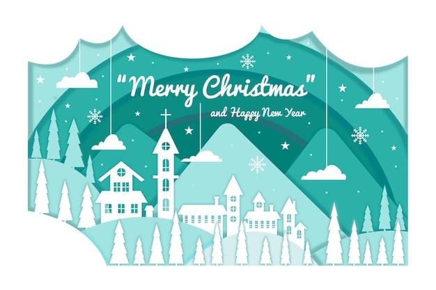 Рождественский фон в бумажном стиле