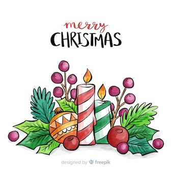 Christmas background in watercolor style