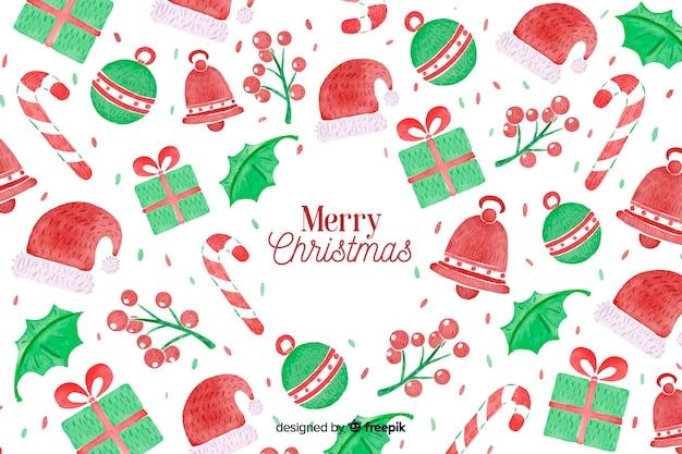 수채화에서 크리스마스 배경