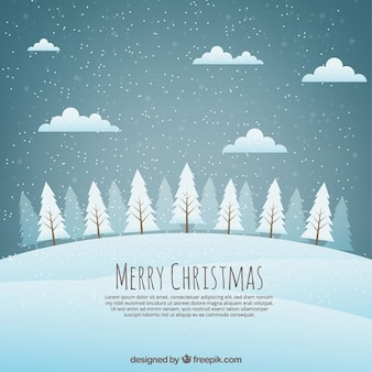 Christmas background landscape with snowy trees