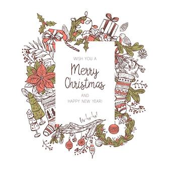 Новогодний фон с различными праздничными иконами и элементами. каракули омелы, чулки, еловые и еловые ветки, венок, колокольчик, подарочные коробки, свечи. праздничная праздничная рамка