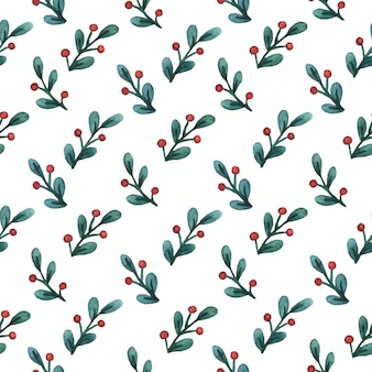 Christmas background of mistletoe sprigs with berries