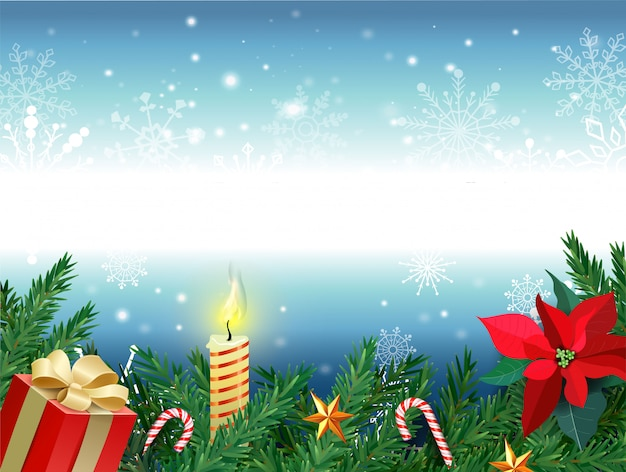 Christmas background, new year decoration with fir branches, beads and holly berry and red gift box, burning candle, caramel cane and toy star.  illustration.
