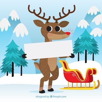 Christmas background of nice reindeer with a poster