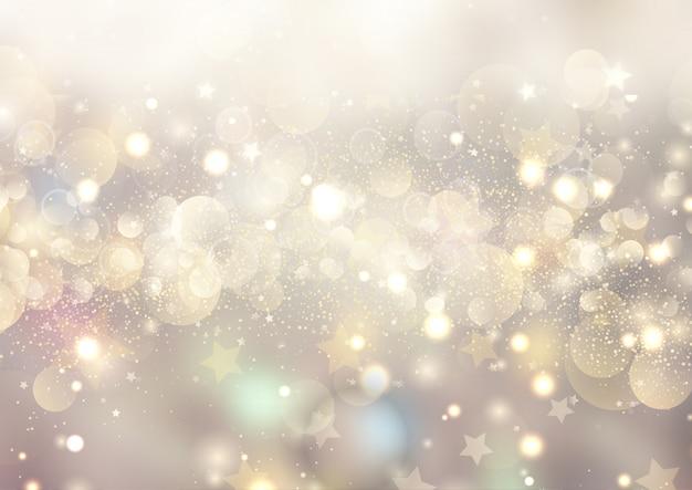 Рождественский фон с боке огни и звезды