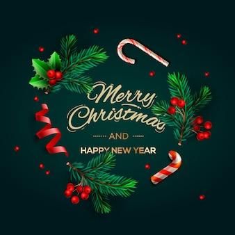 소나무 가지와 원형 프레임의 크리스마스 배경입니다. 필기 텍스트 기쁜 성 탄과 새 해 복 많이 받으세요. 휴일 인사말