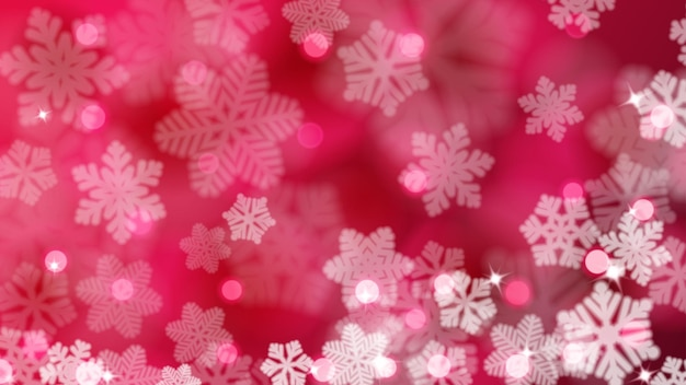 真っ赤な色で、まぶしさとボケ効果を持つ焦点がぼけた雪片のクリスマスの背景