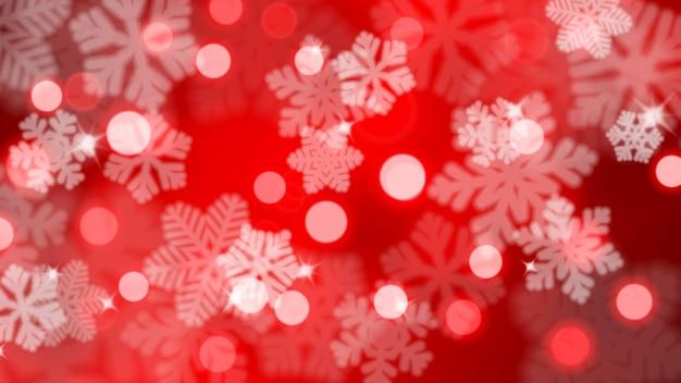 눈부심과 보케 효과가 있는 defocused 눈송이의 크리스마스 배경, 붉은 색