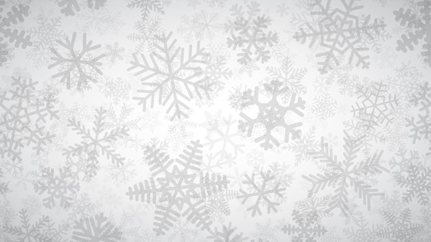 Новогодний фон из многих слоев снежинок разной формы, размера и прозрачности. серый на белом