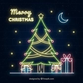 ネオンライトのクリスマスの背景