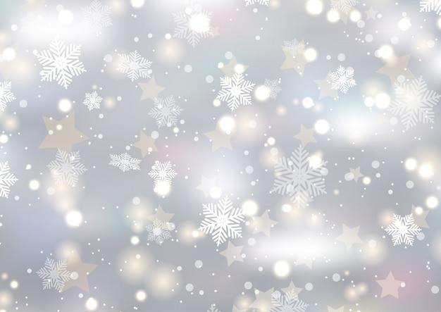 눈송이와 별 크리스마스 배경