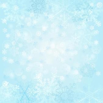 Новогодний фон из снежинок, в голубых тонах