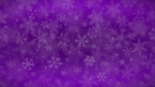 Новогодний фон из снежинок разной формы, размера, размытия и прозрачности в фиолетовых тонах