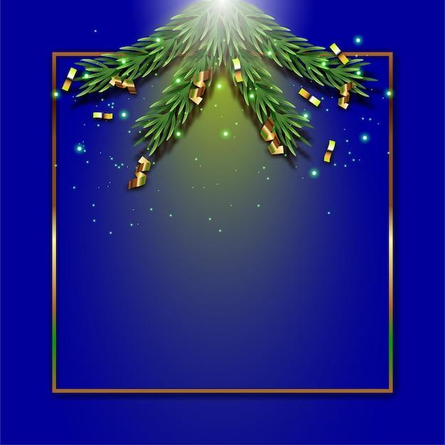トウヒの枝とフレームとゴールドリボンのクリスマスの背景