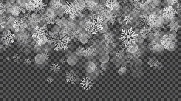 透明な背景に白い色の半透明の降る雪のクリスマスの背景。ベクターファイルのみの透明度