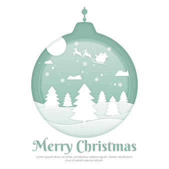 Christmas background in paper cut design