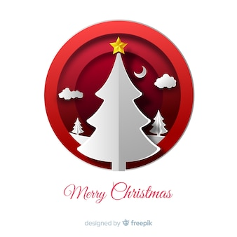 Christmas background in paper cut style