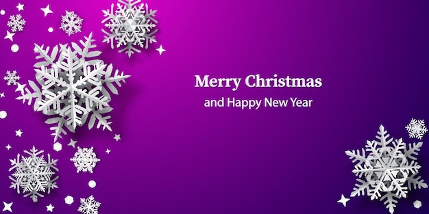 Christmas background of paper snowflakes with soft shadows, white on purple background