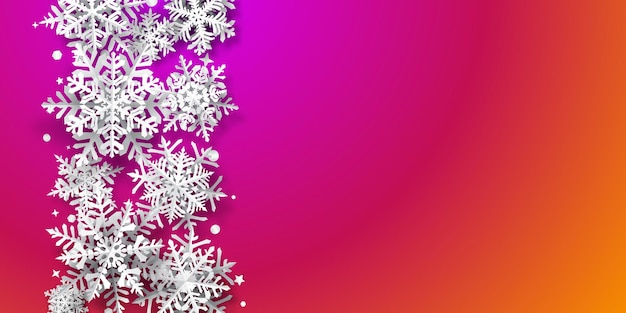 Christmas background of paper snowflakes with soft shadows, white on purple and orange background
