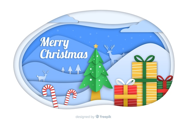Christmas background in paper style with gifts