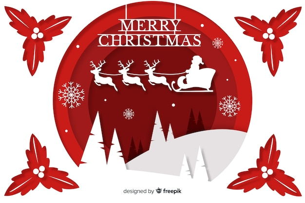 Christmas background in paper style Premium Vector