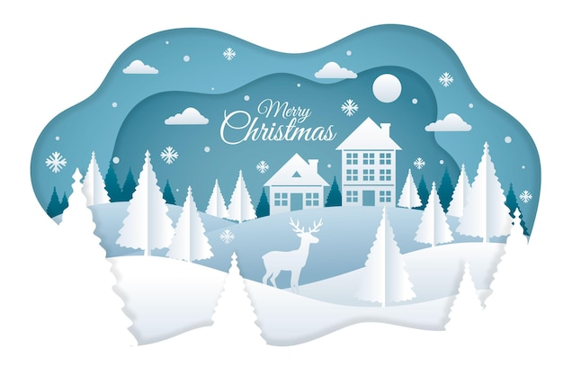 Christmas background in paper style