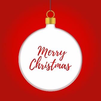 クリスマスの背景、ボールとpapercutスタイル