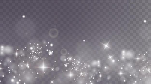クリスマスの背景パウダーpng魔法の輝く白いほこり細かい光沢のあるほこりの粒子が落ちる