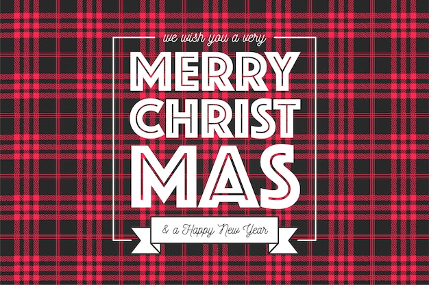 Christmas background in red and black tartan pattern