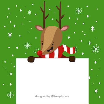 Christmas background of reindeer with a poster