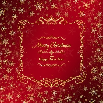 Christmas background rounding by golden snowflakes and luxury border.