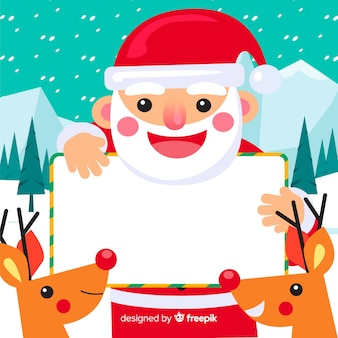 Christmas background santa claus holding blank sign