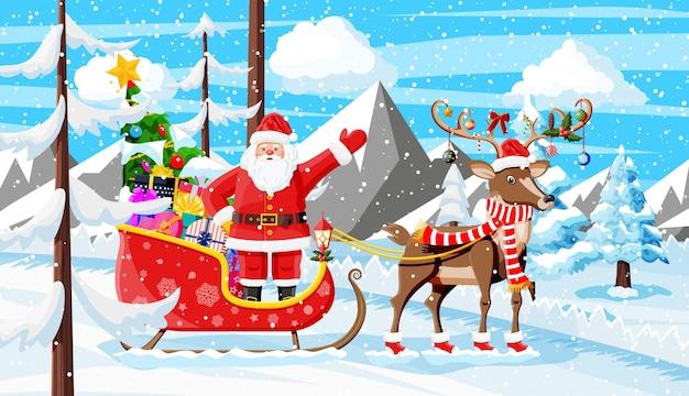 Рождественский фон. санта-клаус едет на оленьих упряжках. зимний пейзаж с елями, лесными горами и снегом. с новым годом. новый год рождество. векторная иллюстрация плоский стиль