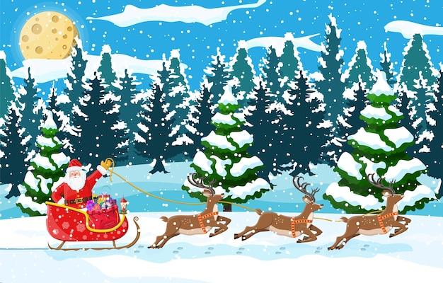 クリスマスの背景。サンタクロースがトナカイのそりに乗る