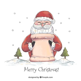 Christmas background of santa claus with a poster