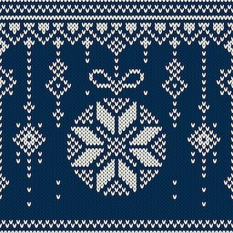 Рождественский фон. бесшовный праздничный узор на шерстяной трикотажной фактуре