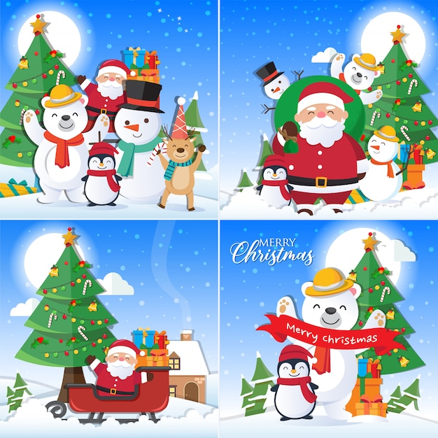 Christmas background set with santa claus and merry christmas decoration