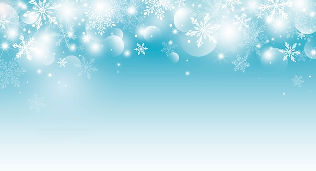 Christmas background of snowflake and bokeh with light effect