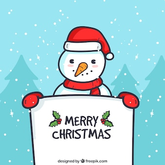 Christmas background of snowman with a poster