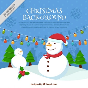 Christmas background of snowmen and christmas trees