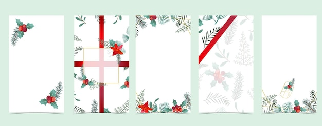 Christmas background for social media.set of story with flower,leaf,ribbon