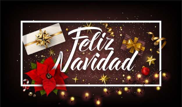 Christmas background in spanish with gifts