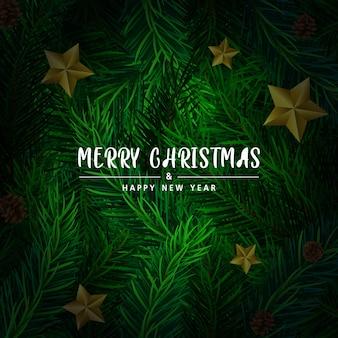 クリスマスの背景、緑の背景に木の枝。