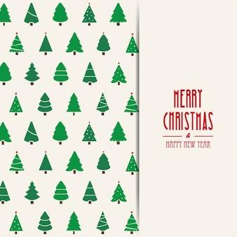 Natale sfondo di alberi con diversi modelli