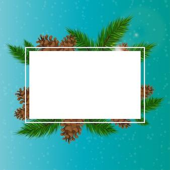 テキストの下のクリスマスの背景。クリスマスツリーと恥ずかしがり屋の枝。青いクリスマスの背景。